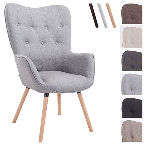 CLP Retro-Stuhl mit Armlehne AALBORG, Stoff-Bezug, Holz-Gestell, belastbar bis 160 kg, sesselförmiger Sitz, gepolstert, Sitzhöhe 49 cm Grau, Holzgestell Farbe: Natura