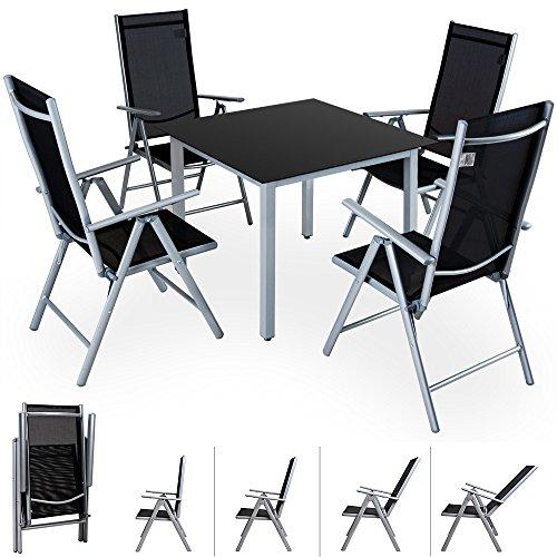 Alu Sitzgruppe 4+1 Sitzgarnitur Gartengarnitur Tischplatte aus Glas + klappbare und neigbare Stühle