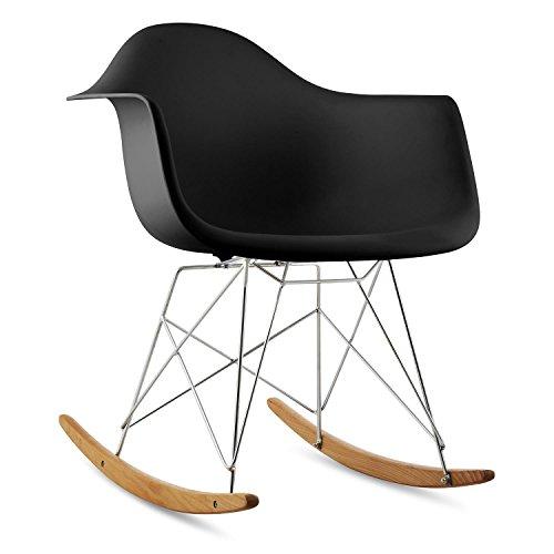 oneConcept Aurel Stuhl Schaukelstuhl Schalenstuhl (Retro PP-Schale, Sitzkomfort, schmale Armlehne, 43 cm Sitzhöhe, Birkenholz) schwarz