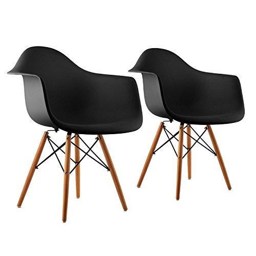 oneConcept Bellagio Stuhl Schalenstuhl Designerstuhl (2-er Set, Retro PP-Schale, schmale Armlehne, 43 cm Sitzhöhe, Birkenholz) schwarz