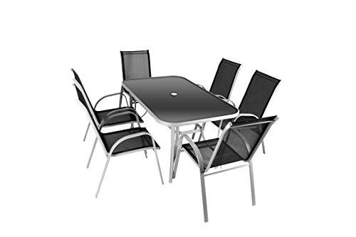 7tlg Alu Sitzgruppe Gartengarnitur Gartenset mit Glastisch mit Sicherheitsglas und Sonnenschirmloch Rahmen aus Aluminium 150 x 89 x 72 cm und 6 schwarzen Stapelstühlen stapelbar platzsparend Hochlehner Gartenstuhl witterungsbeständig wartungsfrei