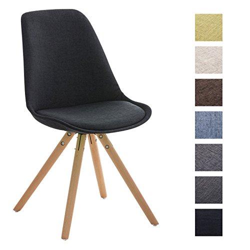 CLP Design Stuhl PEGLEG mit Stoff-Bezug, Retro Design, Esszimmer-Stuhl gepolstert, Sitzhöhe 46 cm schwarz, Holzgestell natura