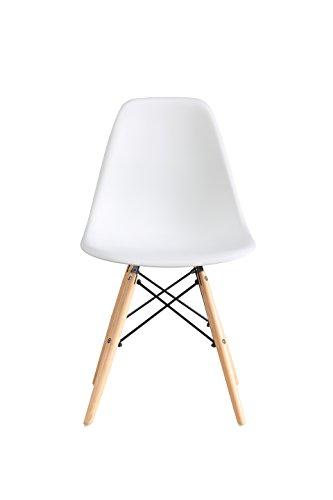 OYE HOYE Retro Desigher Stuhl Esszimmerstühle Wohnzimmerstühl, aus Hochwertigem Strapazierbarem Kunststoff und Buchenholz - 4er Set / Weiß 1