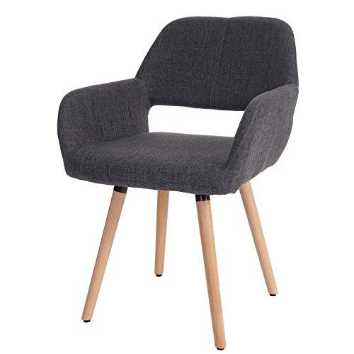 Esszimmerstuhl Altena II, Stuhl Lehnstuhl, Retro 50er Jahre Design ~ Textil, grau