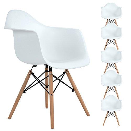 Lot von 6 Esszimmerstuhl, Ajie Retro Stuhl Beistelltisch mit solide Buchenholz Bein - weiß