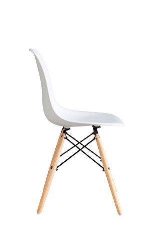 OYE HOYE Retro Desigher Stuhl Esszimmerstühle Wohnzimmerstühl, aus Hochwertigem Strapazierbarem Kunststoff und Buchenholz - 4er Set / Weiß 2