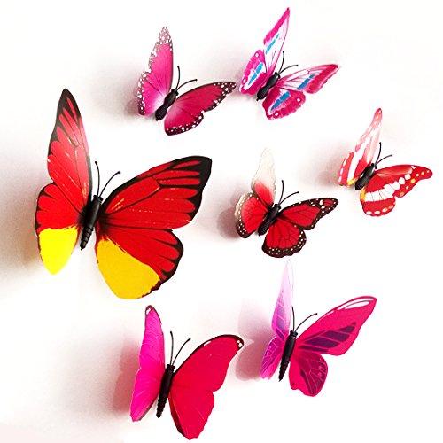 3D Schmetterlinge im 3D-Style, 12-Stück, Wanddekoration mit Klebepunkten zur Fixierung, Mischung rot