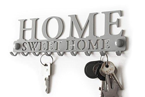 Kleiderablage Kleiderständer Home Sweet Home Garderobe Hakenleiste Stahl Schlüsselbrett Wohnaccessoires Veranda Metall Wandgarderobe Weiß Schwarz