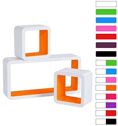 WOLTU #177-N Wandregal Schweberegale, 3er Set Lounge Cube Regal, Retro Bücherregal, MDF Holz, DIY zum Hängen, Farbwahl