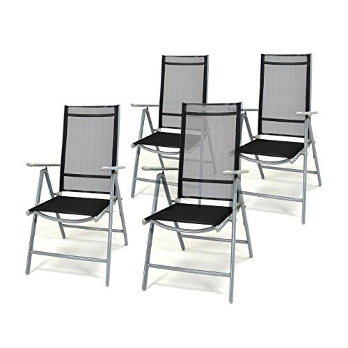 4er Set Klappstuhl schwarz Aluminium 7-fach-verstellbar Gartenstuhl Hochlehner mit Armlehne witterungsbeständig leicht stabil Rahmen silber Balkon Terrasse