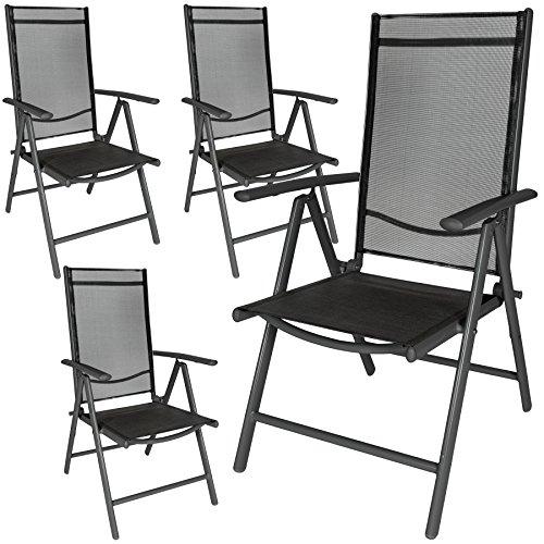 TecTake Aluminium Klappstuhl Gartenstuhl Set verstellbar mit Armlehnen - diverse Farben und Mengen - (Anthrazit   4er Set   Nr. 401634)