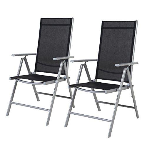 2-er Set Stuhl, 7-fach verstellbar Klappsessel, Gartenstuhl, Hochlehner für Terrasse Multipositionssessel, Balkon Möbel, anthrazit, Schwarz