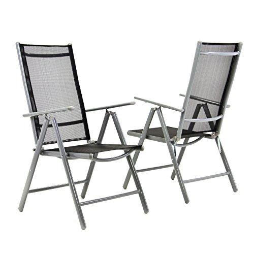 Nexos 2-er Set Stuhl, Klappstuhl, Gartenstuhl, Hochlehner für Terrasse, Balkon Camping Festival, aus Aluminium verstellbar, leicht, stabil, schwarz