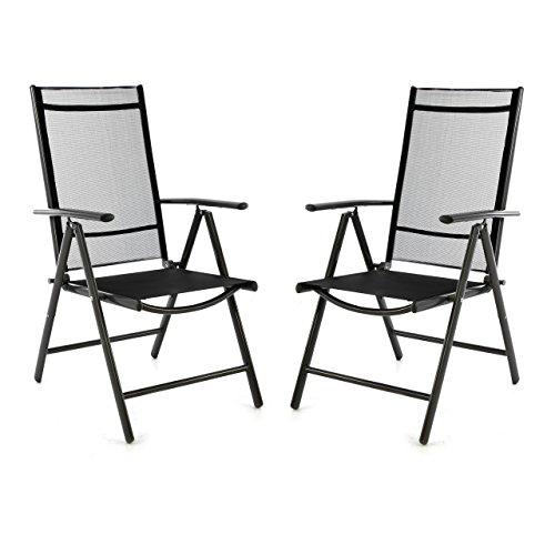 2er Set Klappstuhl schwarz Aluminium 7-fach-verstellbar Gartenstuhl mit Armlehne witterungsbeständig leicht stabil Rahmen anthrazit Balkon Terrasse