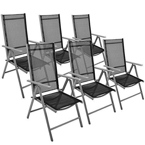 6er Set Klappstuhl Aluminium Gartenstuhl Aluminium Campingstuhl verstellbar schwarz stabil