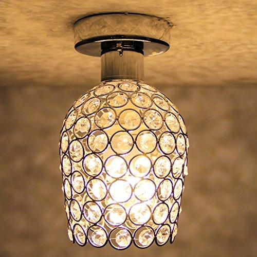 BAYTTER® Kristall Deckenlampe modern E27 7W LED Deckenleuchte mit K9 Kristallkronleuchter warmweiß silber Ø14mm für Flur Wohnzimmer Schlafzimmer Treppenhaus Küche Kinderzimmer Hotel Villa Balkon