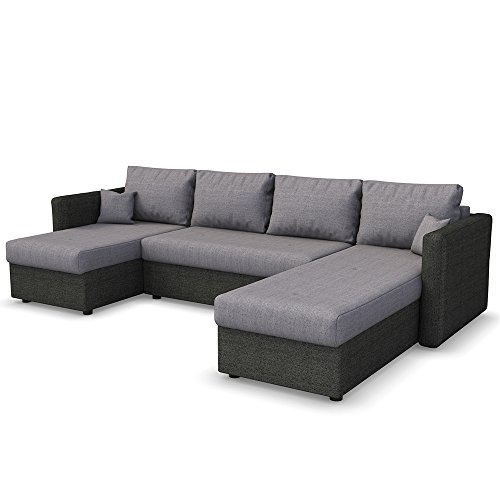 xxl schlafsofa in grau schwarz stellma 290 x 185 cm liegefl che 270 x 140 cm sofa couch. Black Bedroom Furniture Sets. Home Design Ideas