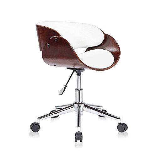 MY SIT Design Stuhl Retro Drehstuhl Bürostuhl Vintage Antik Kunstleder Drehhocker Wohnzimmerstuhl Esszimmerstuhl Drehsessel Höhenverstellbar - Hazel in Weiß/Braun