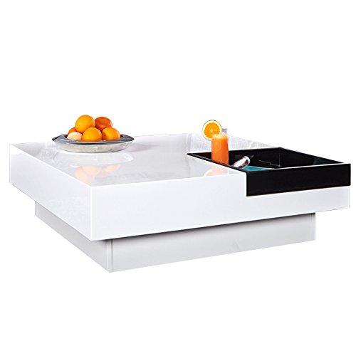 Design Couchtisch CUEBASE weiß mit integriertem Tablett Hochglanz Wohnzimmertisch Tisch