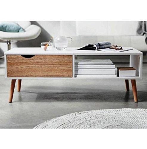 1PLUS moderner Design Couchtisch mit Zeitungsablage und Schublade, matt weiß Buche Dekor, 100 x 36,5 x 49,5 cm