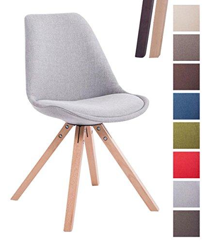 CLP Design Retro-Stuhl TOULOUSE SQUARE, Stoffbezug gepolstert Grau, Holzgestell Farbe natura, Bein-Form eckig