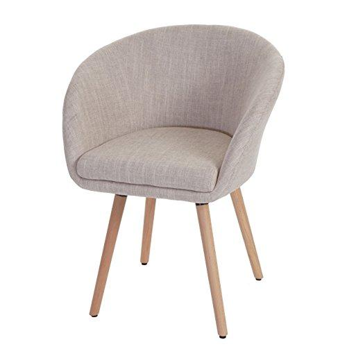 Esszimmerstuhl Malmö T633, Stuhl Lehnstuhl, Retro 50er Jahre Design ~ Textil, creme/grau