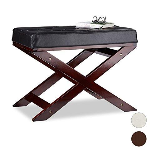 Relaxdays Sitzbank mit Polster ohne Lehne, aus Holz und Kunstleder, Einsitzer, HxBxT 48 x 64 x 40, in 3 Farben