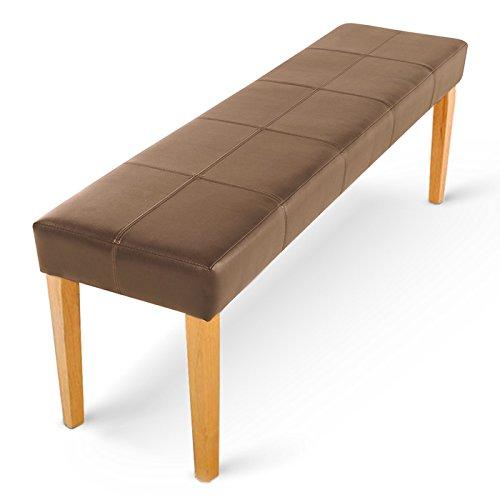 SAM® Esszimmer Sitzbank 145 cm in cappuccino mit buche-farbigen Beinen aus Pinien-Holz, SAMOLUX®-Bezug für angenehmen Sitzkomfort, frei aufstellbare Bank ohne Rückenlehne [522000]