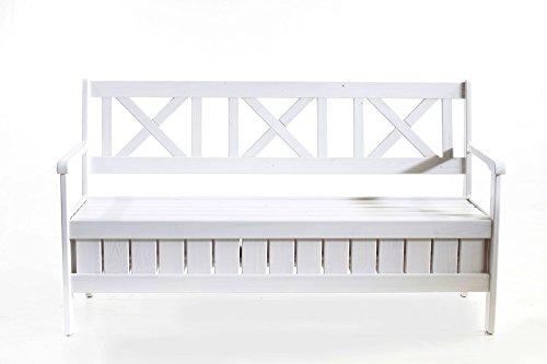 Trendy-Home24 90463 Massivholz Truhenbank circa 150 cm Landhausstil Küchenbank Shabby chick Sitzbank, weiß