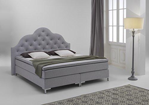 atlantic home collection caro boxspringbett stoff hellgrau liegefl che zweiteilig 180 x 200. Black Bedroom Furniture Sets. Home Design Ideas