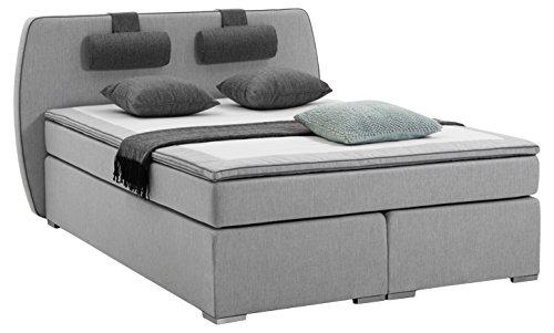 atlantic home collection boxspringbett h rtegrad h2 topper inklusiv nackenkissen hellgrau. Black Bedroom Furniture Sets. Home Design Ideas