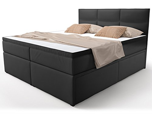 boxspringbett mit bettkasten schubkasten schwarz viana doppelbett hotelbett taschenfederkern. Black Bedroom Furniture Sets. Home Design Ideas