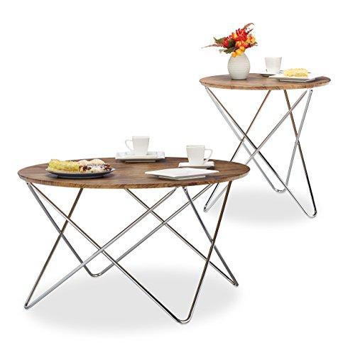 relaxdays beistelltisch rund couchtisch holz vintage look geschwungene metallbeine. Black Bedroom Furniture Sets. Home Design Ideas