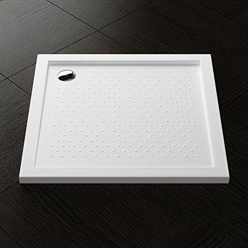80x80x4 cm Design Duschtasse Lucia01AR mit Anti-Rutsch Profil in Weiß, inkl. Ablaufgarnitur mit Ablaufbogen AL02, Duschwanne, Acrylwanne