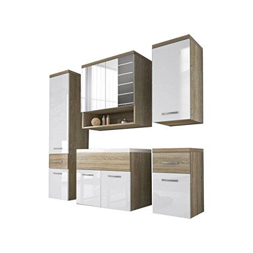 badm bel set bella ii mit waschbecken und siphon modernes badezimmer komplett spiegel. Black Bedroom Furniture Sets. Home Design Ideas