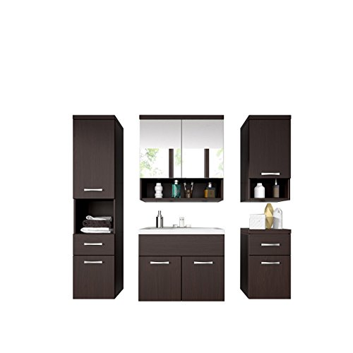 Badmöbel Set Bella III mit Waschbecken und Siphon, Modernes Badezimmer, Komplett, Spiegelschrank, Waschtisch, Hochschränk, Hängeschrank Möbel