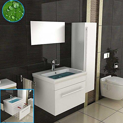 Badmöbel Set für das Badezimmer in 60x45 cm Weiß Hochglanz, Keramik Waschbecken mit Nano Beschichtung und Waschbeckenunterschrank