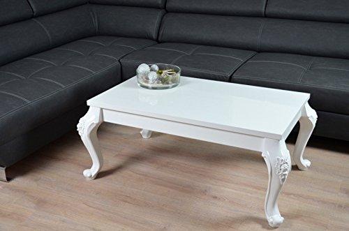 couchtisch hochglanz wei wohnzimmer lack tisch kratzfest beistelltisch barock 115 x 65 cm m bel24. Black Bedroom Furniture Sets. Home Design Ideas