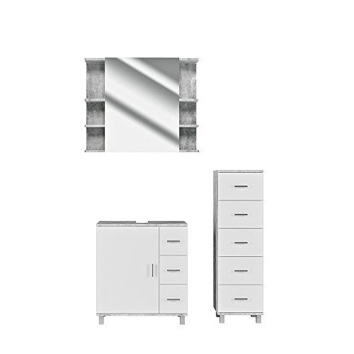 VICCO Badmöbel Set Badezimmermöbel ILIAS Weiß Beton Spiegel + Waschtischunterschrank + Midischrank