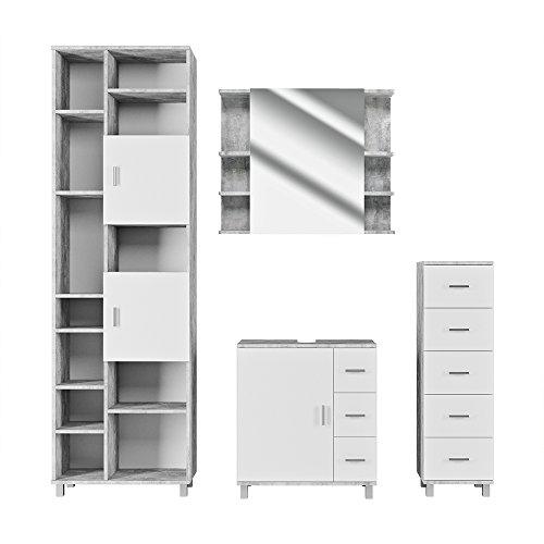 VICCO Badmöbel Set Badezimmermöbel ILIAS Weiß Beton Spiegel + Waschtischunterschrank + Midischrank + Hochschrank