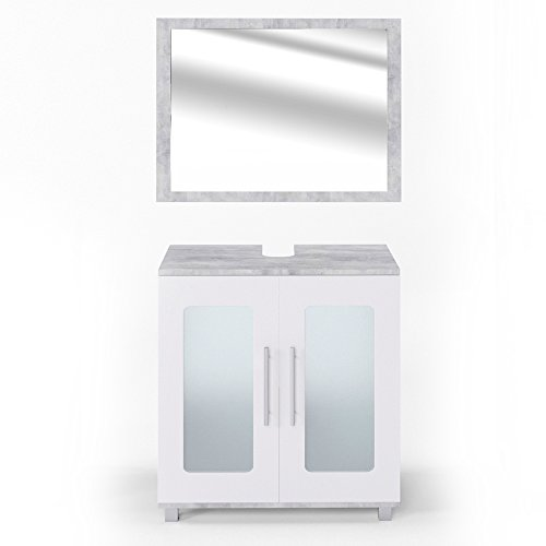 vicco badm bel set rayk wei grau beton spiegel waschbeckenunterschrank hochschrank. Black Bedroom Furniture Sets. Home Design Ideas