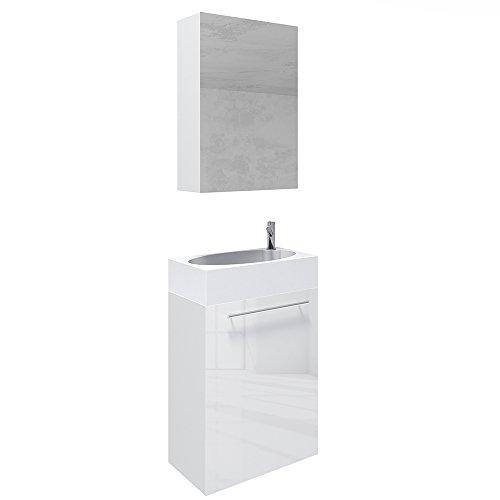 VICCO Waschplatz 45 cm Weiß Hochglanz - Badmöbel Set - Unterschrank Waschbecken Spiegelschrank Waschtisch Gäste