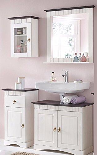 4 tlg badm bel set aus kiefernholz wei braun badschrank badschr nke m bel24. Black Bedroom Furniture Sets. Home Design Ideas
