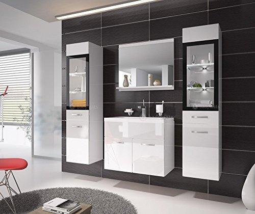 Badezimmer Badmöbel Rio XL LED 60 cm Waschbecken Hochglanz Weiß Fronten - Unterschrank 2x Hochschrank Waschtisch Möbel