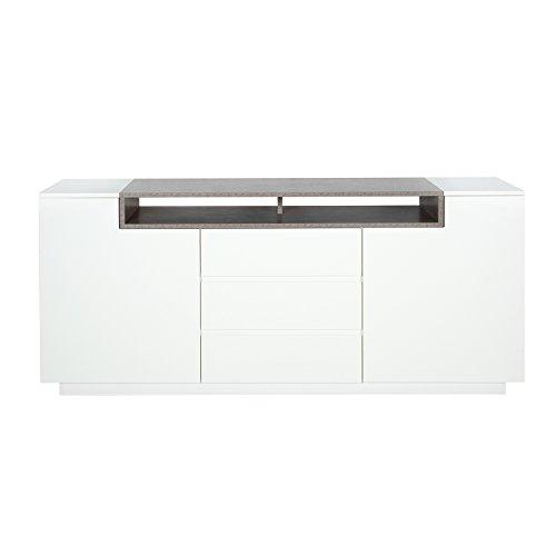 Elegantes Sideboard EMPIRE 180cm edelmatt weiß Beton-Optik Wohnzimmerschrank Anrichte