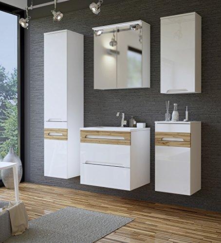 Galaxy Badmöbel-Set / Komplettbad 6-teilig in Weiß Hochglanz / Blenden Holzdekor, Waschtisch, LED-Beleuchtung