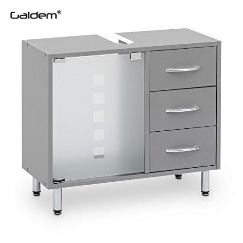 Galdem Waschbeckenunterschrank mit 3 Schubladen Glastür Bad Möbel Badschrank Gäste WC Gästebad Waschtisch Unterschrank Holz