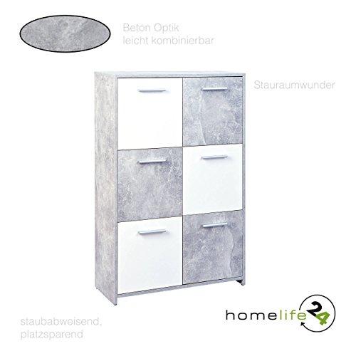 HL24 Kommode mit 6 Türen in Beton hell weiß optik Sideboard Mehrzweckschrank Anrichte Diele Flur Esszimmer Wohnzimmer
