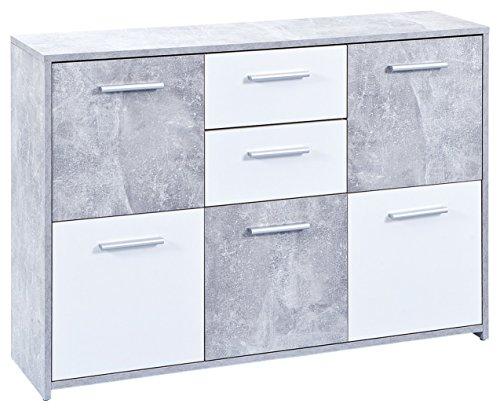 Links 19703020 Kommode, melaminharzbeschichtete Flachpressplatte, weiß betondekor, 115 x 30 x 77 cm