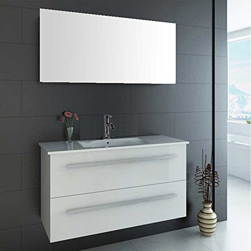 """OimexGmbH Design Badmöbel Set """"Serpia Single"""" Weiß Hochglanz Waschtisch 90cm inkl. Armatur und Spiegel Badezimmermöbel Set mit Keramik Waschbecken"""